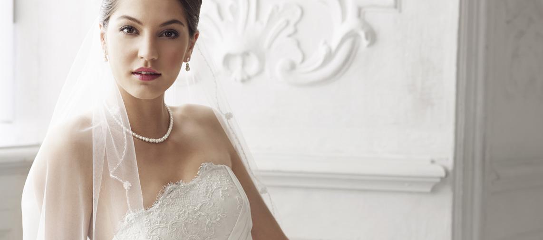 Schlichtes Brautkleid, Schmuck, Traumkleid, Hochzeitsfoto, Hochzeitsfrisur